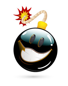 Happy Offer Bomb Smiley Vector