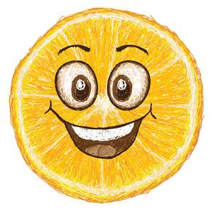 Happy Orange Fruit Cross Section