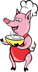 Happy Pig Chef Cook Baker Soup Bowl