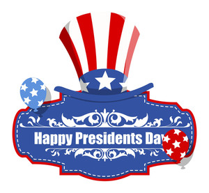 Happy Presidents Day Badge With Uncle Sam Hat  Usa Theme
