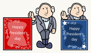 Happy Presidents Day Banner George Washingtons Cartoon Clip Art