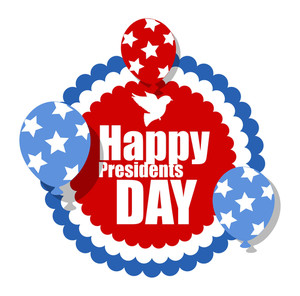 Happy Presidents Day Circular Poster Sticker With Floating Balloons