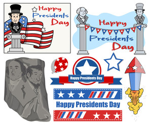 Happy Presidents Day Usa National Theme Vector Set