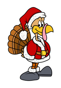 Happy Santa Turkey Bird