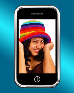 Happy Smiling Teenage Girl Photo On Mobile Phone