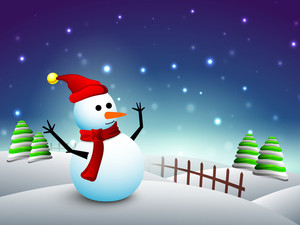 Happy Snowman In Santa Hat And Scarf On Winter Night