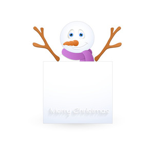 Happy Snowman Presenting Christmas Banner