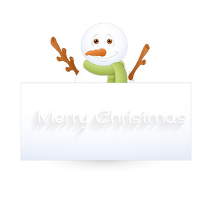 Happy Snowman With Blank Ad Banner