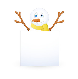 Happy Snowman With Blank Banner
