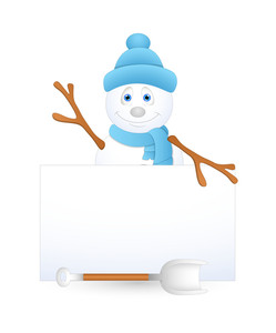 Happy Snowman With Blank Info Banner