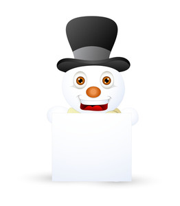 Happy Snowman With Info Banner