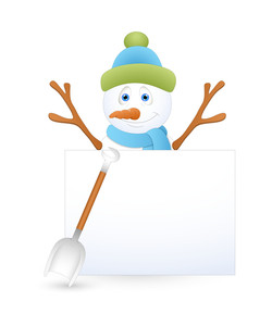 Happy Snowman With Spade And Blank Banner