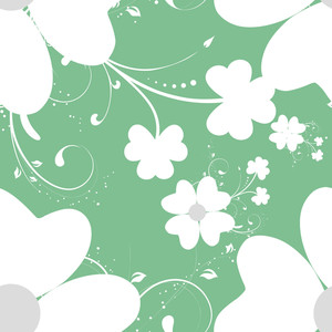 Happy St. Patrciks Day Concept With Beautiful Flowers On Green Background.
