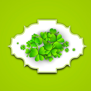 Happy St. Patrciks Day Concept With Clover Leaves On White And Green Background.