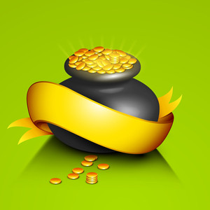 Happy St. Patrciks Day Concept With Traditional Mud Pot With Full Of Gold Coins And Ribbon On Green Background.