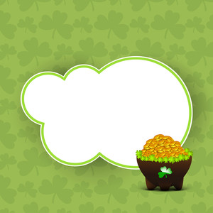 Happy St. Patricks Day Background With Beautiful Circle Decorby Clover Leaves And Stylish Text On Blue Background.
