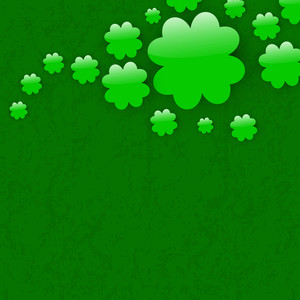 Happy St. Patricks Day Background With Beautiful Clover Leaves And Stylish Text On Grungy Dark Green Background.