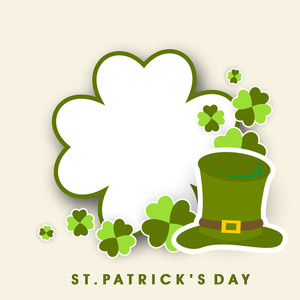 Happy St. Patricks Day Background With Beautiful Clovere Leaf And Space For Your Text