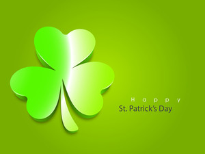 Happy St. Patrick's Day Background With Beautiful Orange Clover Leaves On Shiny Blue Background.