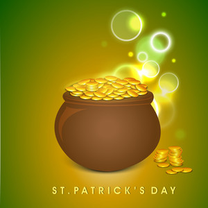 Happy St. Patricks Day Background With Beer Mug On Shiny Green Background