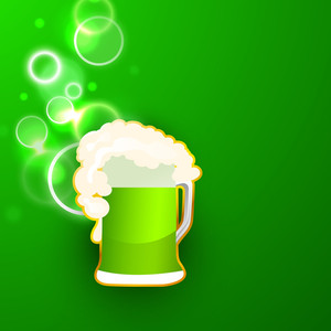 Happy St. Patricks Day Background With Clover Leave And Space For Your Text And Beer Mug On Blue Background.