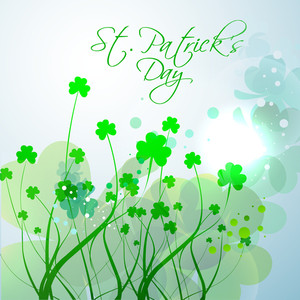 Happy St. Patricks Day Background With Cute Happy Teddy Bear On Rainbow Decorated Blue Background.