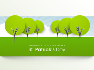 Happy St. Patrick's Day Background With Greeen Trees.