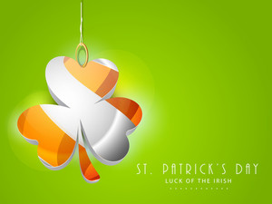 Happy St. Patrick's Day Background With Hanging Colorful Clover Leave On Brght Red Background.