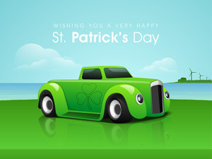 Happy St. Patrick's Day Background With Leprechauns Hat And Golden Clover Leaf.