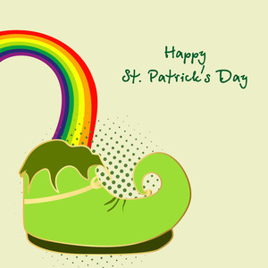 Happy St. Patricks Day Background With Leprechauns Hat And Photoframe On Seamless Clover Leaves Decorated Green Background.