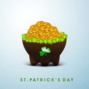 Happy St. Patricks Day Background With Leprechauns Hat On Leaves Decorated Green Background.