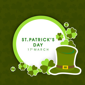 Happy St. Patricks Day Background With Leprechaun's With Clover Leaves On Brown Background.