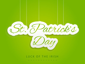 Happy St. Patrick's Day Background With Shiny Grey Clover Leaf On Blue And Green Background.