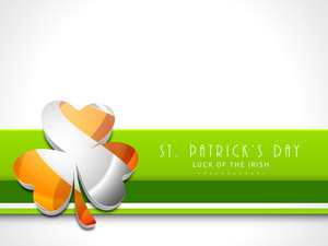 Happy St. Patricks Day Background With Stylish Clover Leaves On Shiny Waves Background.