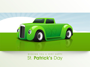 Happy St. Patrick's Day Background With Stylish Text And Clover Leaves.