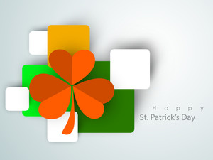 Happy St. Patrick's Day Background With Stylish Text On Green And Grey Background With Beautiful Clover Leaves.