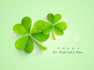 Happy St. Patrick's Day Background With With Colorful Clover Leaves And Space For Your Text