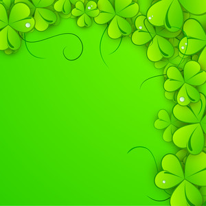 Happy St. Patrick's Day Celebration Concept With Beautiful Clover Leaves On Green Background.