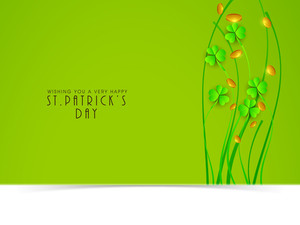 Happy St. Patrick's Day Celebration Concept With Clover Leaves And Gold Coins On Green And White Background.