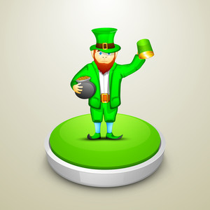 Happy St. Patrick's  Day Celebration Concept With Leprechaun Holding Traditional Mud Pot With Full Of Gold Coins And Beer Mug On Stage.