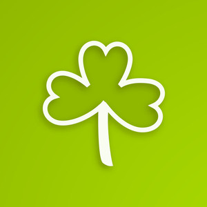 Happy St. Patricks Day Concept With Beauiful Clover Leave On Shiny Green Background.