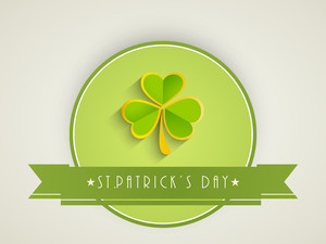 Happy St. Patricks Day Concept With Beautiful Clover Leaf In Green And Golden Color