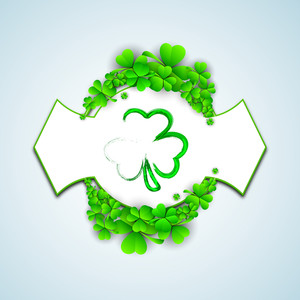 Happy St. Patrick's Day Concept With Beautiful Clover Leaves On Blue Background.