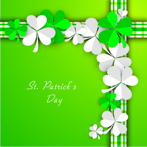 Happy St. Patrick's Day Concept With Beautiful Clover Leaves On Green Background.
