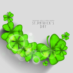Happy St. Patricks Day Concept With Beautiful Clover Leaves On Grey Background.