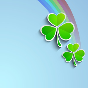 Happy St. Patrick's Day Concept With Beautiful Clover Leaves On Rainbow Blue Background.