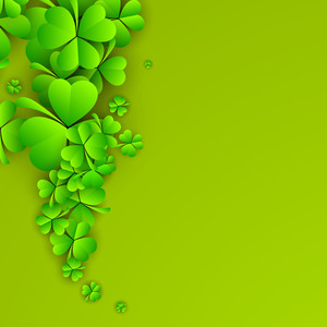 Happy St. Patricks Day Concept With Beautiful Clover Leaves With Blank Space For Your Message.
