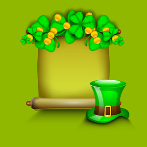 Happy St. Patricks Day Concept With Beautiful Clover Leaves