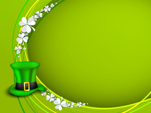 Happy St. Patrick's Day Concept With Beautiful Clovers And Leprechaun's Hat On Shiny Green Background.