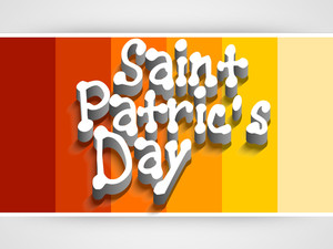 Happy St. Patrick's Day Concept With Beautiful Orange Clover Leaf On Colorful Abstract Background.